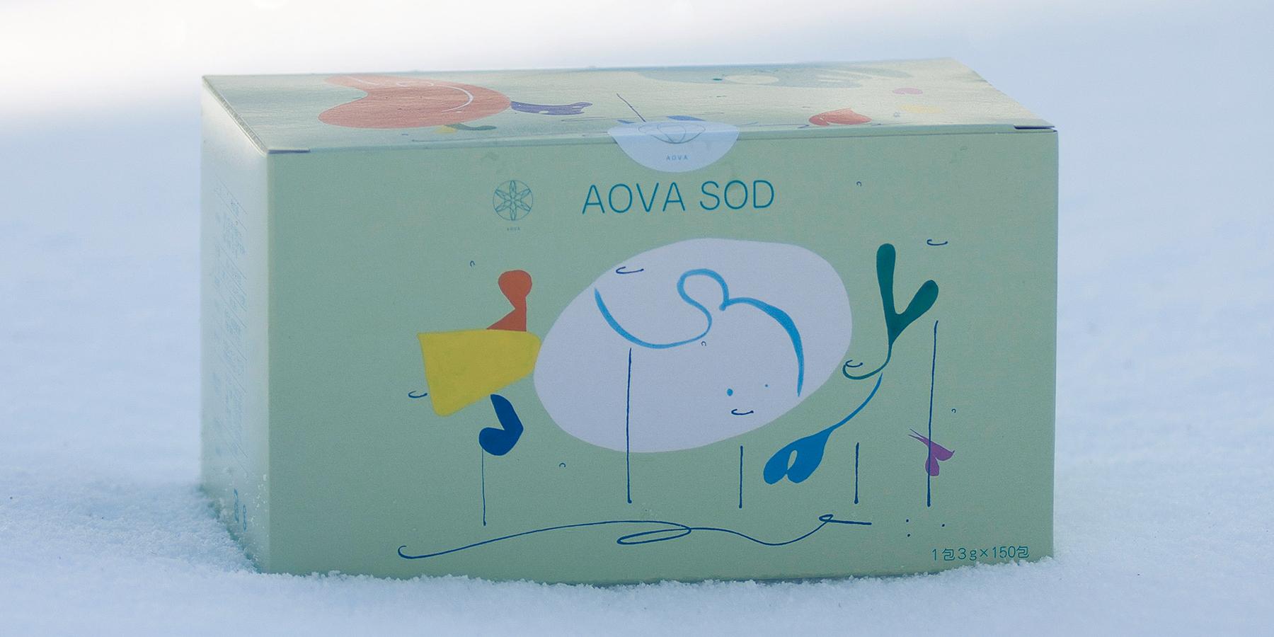 雪の上に置かれたAOVA SODの箱